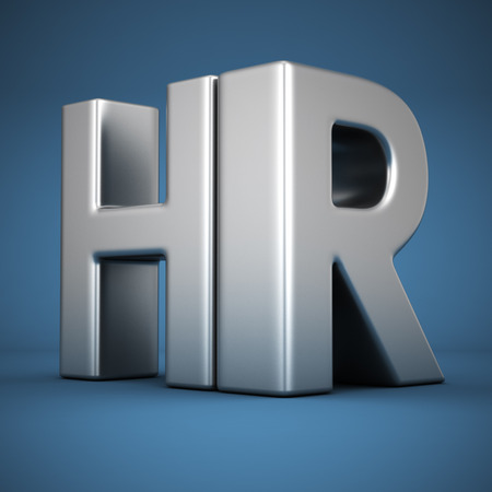 talent management: Big metal letters HR on blue background