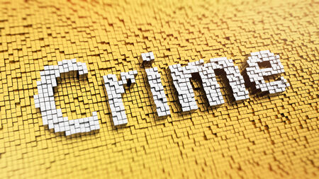 unlawful act: Pixelated word Crime made from cubes, mosaic pattern