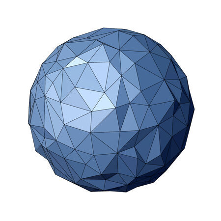 vertex: Low polygonal sphere isolated on white