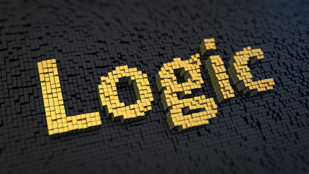 deductive: Word Logic of the yellow square pixels on a black matrix background. Deductive logic concept.