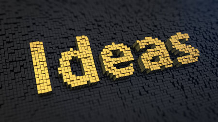 Word Ideas of the yellow square pixels on a black matrix background. Headband for list of Ideas. photo