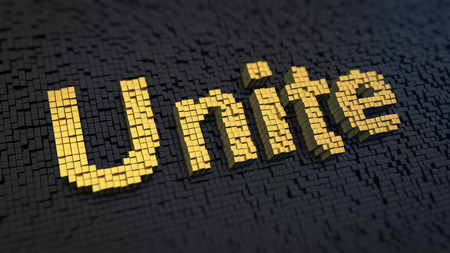 Word Unite of the yellow square pixels on a black matrix background. Workers of the world - unite!