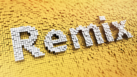 remix: Pixelated word Remix made from cubes, mosaic pattern