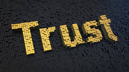 Word Trust of the yellow square pixels on a black matrix background. Loyalty customers concept. photo