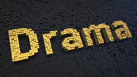 theatrics: Word Drama of the yellow square pixels on a black matrix background. Dont make a drama