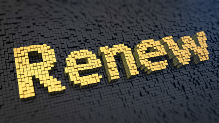 reconstruct: Word Renew of the yellow square pixels on a black matrix background. Renovation and restoration concept. Stock Photo