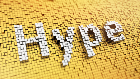 ballyhoo: Pixelated word Hype made from cubes, mosaic pattern