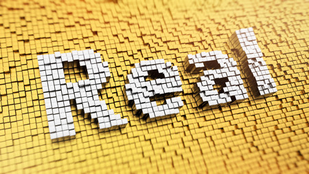 tangible: Pixelated word Real made from cubes, mosaic pattern