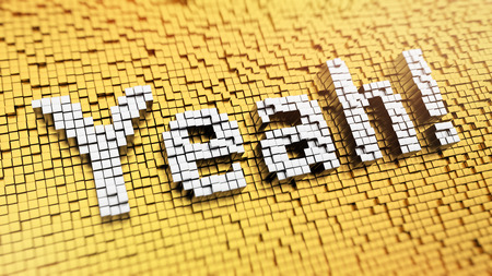 Pixelated word Yeah made from cubes, mosaic pattern