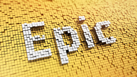 Pixelated word Epic made from cubes, mosaic pattern