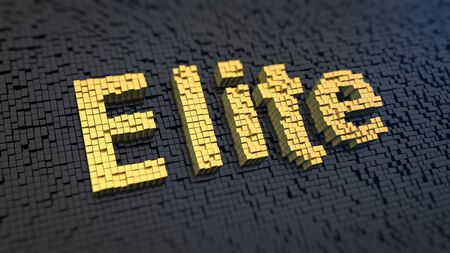 Word Elite of the yellow square pixels on a black matrix background. VIP concept. photo