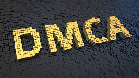 Acronym DMCA of the yellow square pixels on a black matrix background. Internet copyright issue