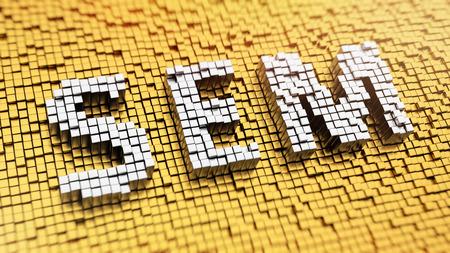 sem: Pixelated acronym SEM made from cubes, mosaic pattern Stock Photo