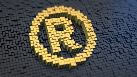 registered: Registered symbol of the yellow square pixels on a black matrix background. Registered rights and trademarks concept. Stock Photo