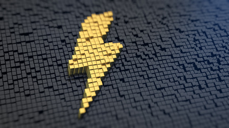 Lightning symbol of the yellow square pixels on a black matrix background. High voltage concept. photo
