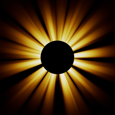 aureole: Bright rays diverge from the black circle