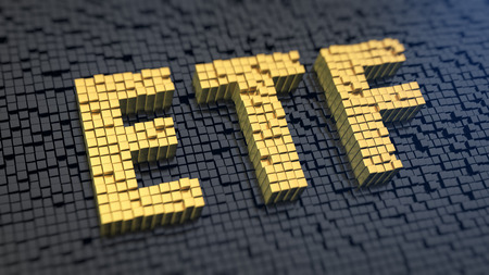Acronym 'ETF' of the yellow square pixels on a black matrix background. Stocks fund concept.