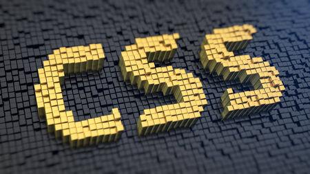 검은 매트릭스 배경에 노란색 정사각형 픽셀의 'CSS'. HTML 코딩 개념. 스톡 콘텐츠