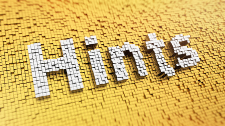 innuendo: Pixelated word Hints made from cubes, mosaic pattern