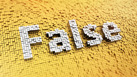 flawed: Pixelated word False made from cubes, mosaic pattern