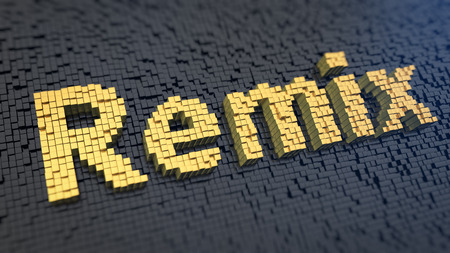 remix: Word Remix of the yellow square pixels on a black matrix background. Everything is remix Stock Photo