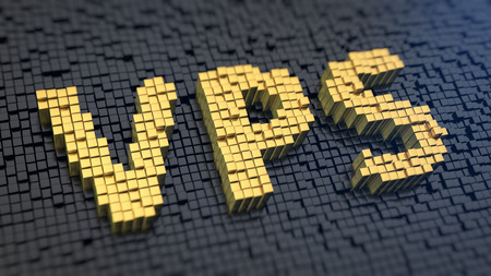 private server: Acronym VPS of the yellow square pixels on a black matrix background Stock Photo