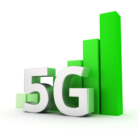 5g: Growing graph of 5G on white, success of mobile technologies