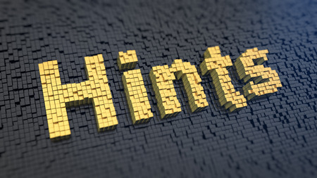 innuendo: Word Hints of the yellow square pixels on a black matrix background. Tips and tricks concept.