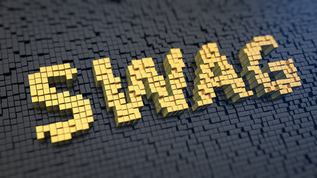 swag: Word SWAG of the yellow square pixels on a black matrix background. Urban style concept. Stock Photo