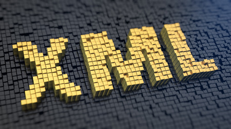 metadata: Acronym XML of the yellow square pixels on a black matrix background. Database concept.