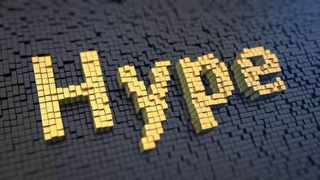 ballyhoo: Word Hype of the yellow square pixels on a black matrix background