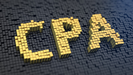cpa: Acronym CPA of the yellow square pixels on a black matrix background Stock Photo