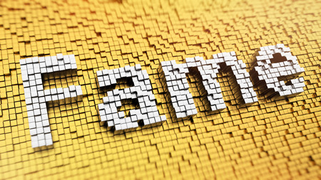 notoriety: Pixelated word Fame made from cubes, mosaic pattern Stock Photo