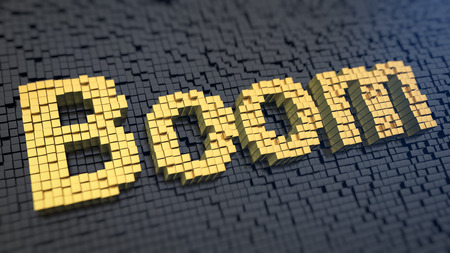 Word Boom of the yellow square pixels on a black matrix background