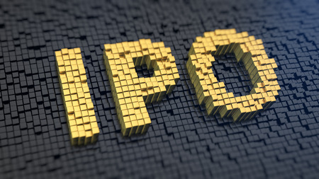 stock market launch: Acronym IPO of the yellow square pixels on a black matrix background. First stock issue concept.