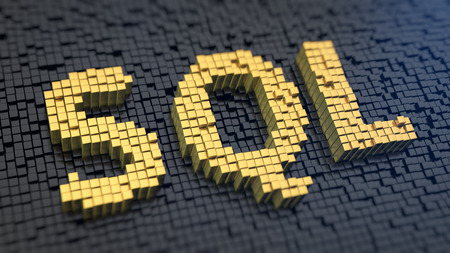 database concept: Acronym SQL of the yellow square pixels on a black matrix background. Database operations concept. Stock Photo