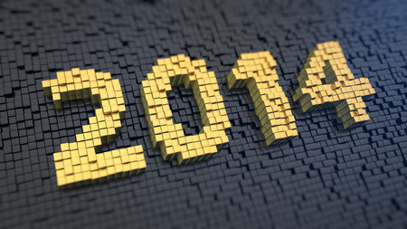 Digits 2014 of the yellow square pixels on a black matrix background. Banner for year report photo