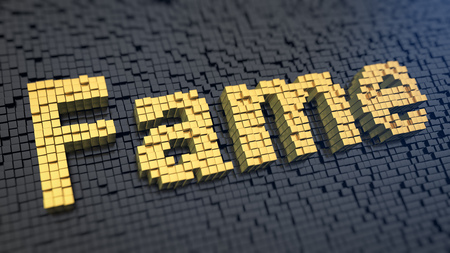 fame: Word Fame of the yellow square pixels on a black matrix background. Hall of fame concept.