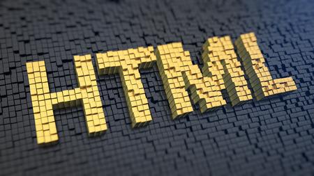 검은 색 매트릭스 배경에있는 노란색 정사각형 픽셀의 'HTML'. 웹 사이트의 언어 개념. 스톡 콘텐츠