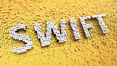 interbank: Pixelated acronym SWIFT made from cubes, mosaic pattern