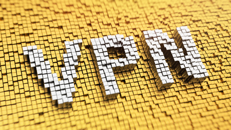 Pixelated acronym 'VPN' made from cubes, mosaic pattern
