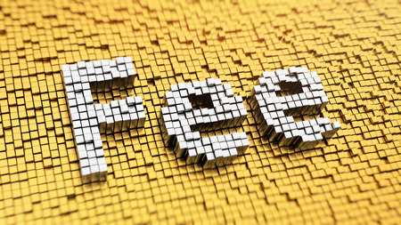 fee: Pixelated word Fee made from cubes, mosaic pattern Stock Photo