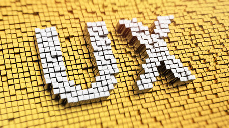 Pixelated acronym UX made from cubes, mosaic pattern Stock Photo