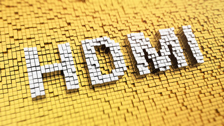 Pixelated acronym HDMI made from cubes, mosaic pattern