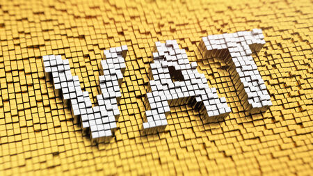 vat: Pixelated acronym VAT made from cubes, mosaic pattern. Taxation concept