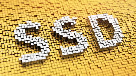 Pixelated acronym SSD made from cubes, mosaic pattern Stock Photo