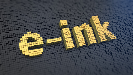 e ink: Word e-ink of the yellow square pixels on a black matrix background. Electronic reader technology concept.