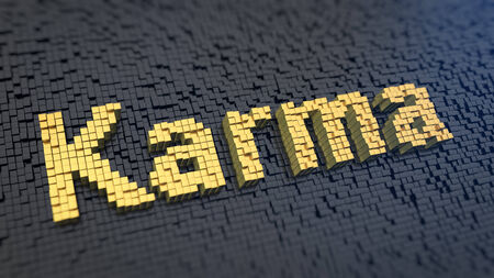 forthcoming: Word Karma of the yellow square pixels on a black matrix background. Fate concept.