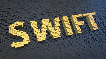 interbank: Acronym SWIFT of the yellow square pixels on a black matrix background. Bank payment order system Stock Photo