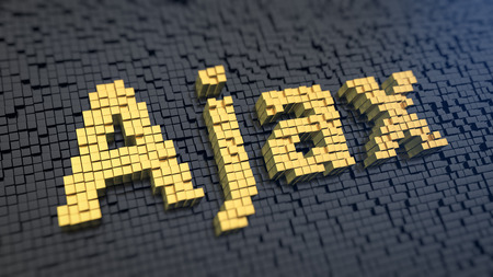 ajax: Word Ajax of the yellow square pixels on a black matrix background. Asynchronous web requests